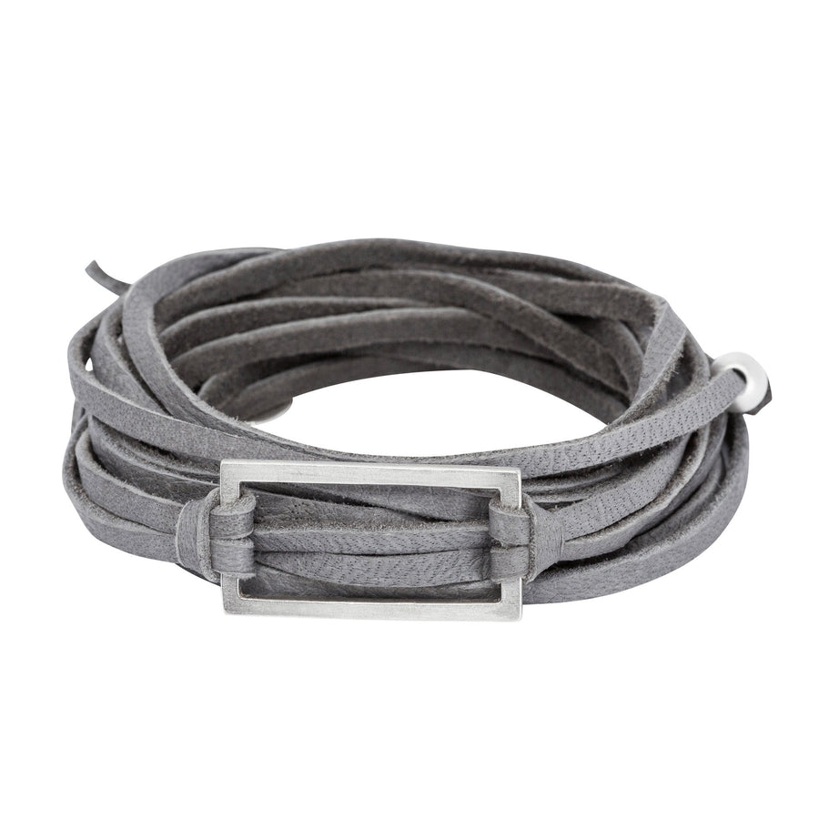 Silver & Leather Wrap Bracelet - Gray