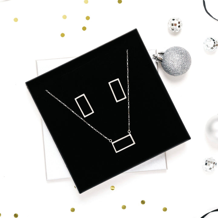Silver Rectangle Necklace & Earrings - Gift Set