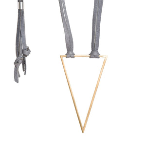 Bronze & Leather Triangle Necklace - Gray