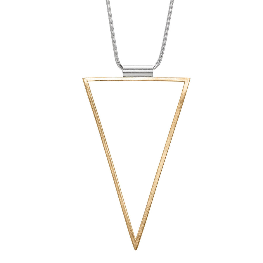 Minimalist gold triangle pendant necklace
