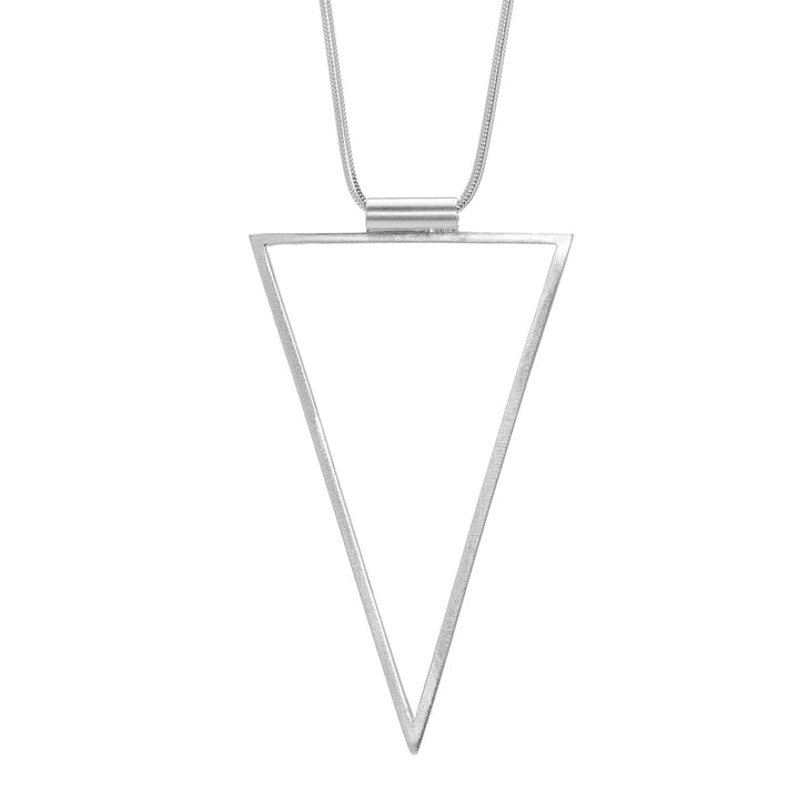Triangle Frame Long Necklace - Silver