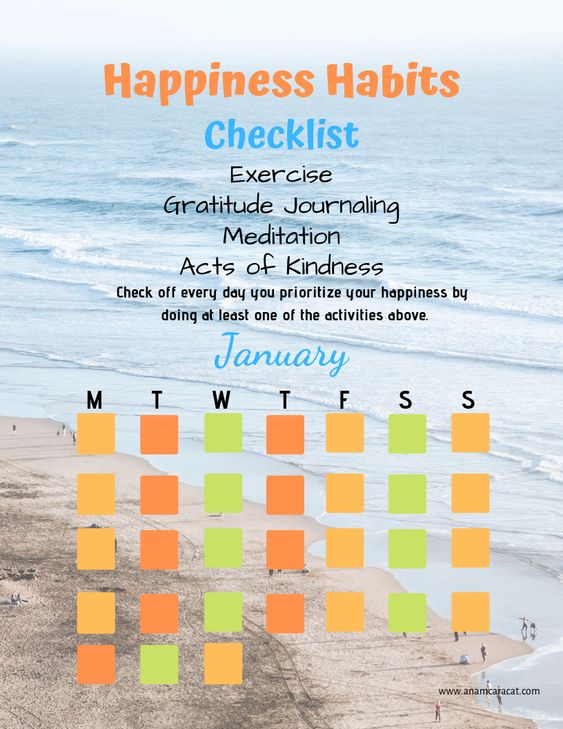 Happiness Habits 12 Month Calendar | Free Printable