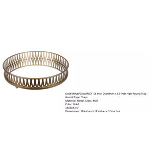 Stylish Gold Metal Mirrored Round Decorative Tray