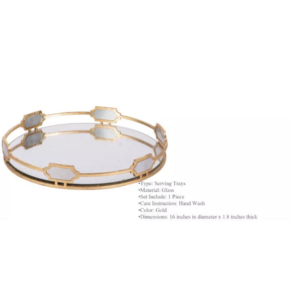 Stylish Decorative Mirrored Metal Glass Tray