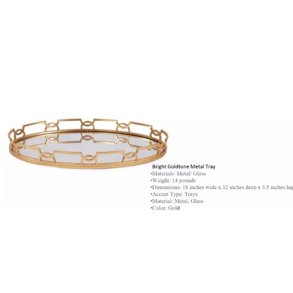 Bright Gold Stylish Decorative Mirrored Metal Glass Tray