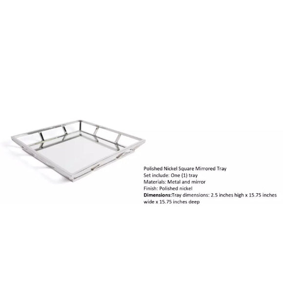 Stylish Polished Nickel Square Mirrored Tray