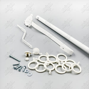 "White Rising Portiere Rod (42"" / 106cm) - Door Curtain Pole"