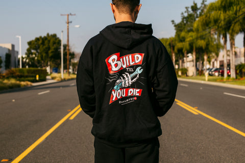 """Build Till You Die"" Zip-Up Sweater"