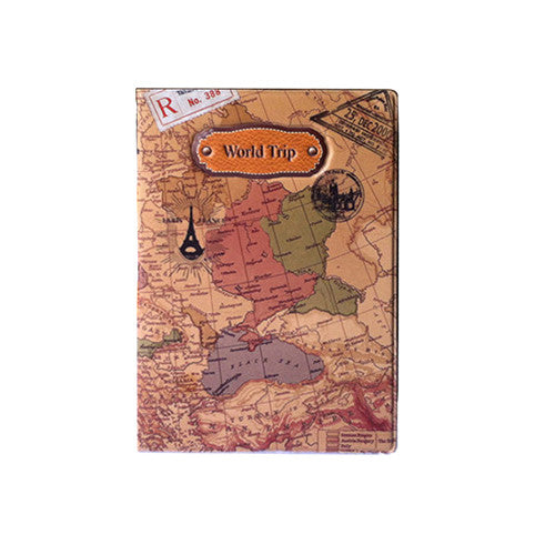 World Map And Paris Travel Passport Cover - Backpacker street