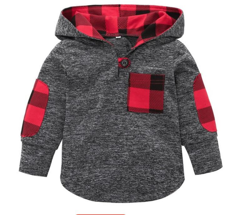 Boys Plaid Sweatshirt - Rosey Cheeks Children's Boutique