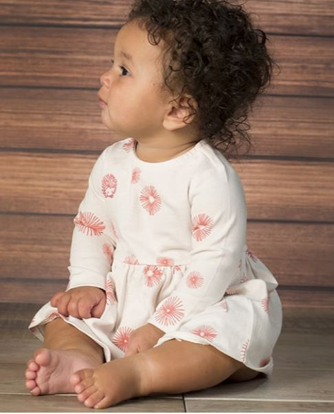 Pink Burst Floral Print Dress with Diaper Cover - Rosey Cheeks Children's Boutique