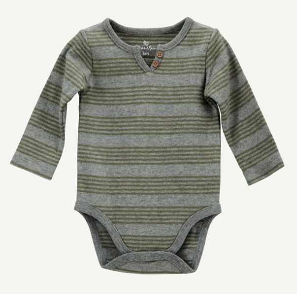 Olive Green Stripe Henley - Rosey Cheeks Children's Boutique