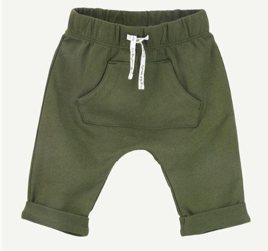 Olive Green Pull-On Pant With Pouch Pocket - Rosey Cheeks Children's Boutique