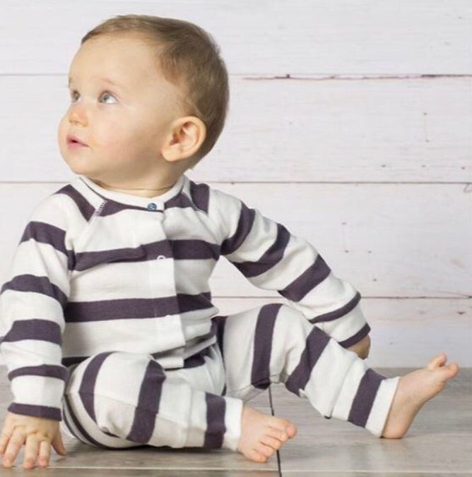 Black and White Bold Stripe Coverall - Rosey Cheeks Children's Boutique
