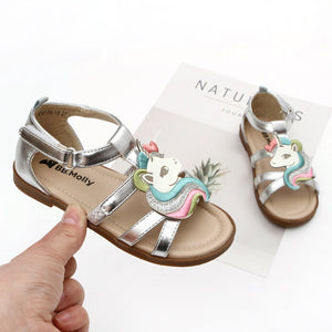 Leather Little Girls Unicorn Sandals