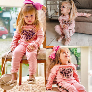 Pink Long Sleeve Leopard Tracksuit