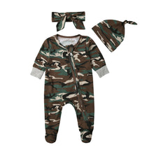 Zipper Camo Romper with Hat
