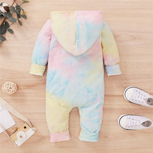 Tie Dyeing Long Sleeve Hooded Romper