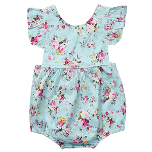 Blue Floral Girl Romper - Rosey Cheeks Children's Boutique