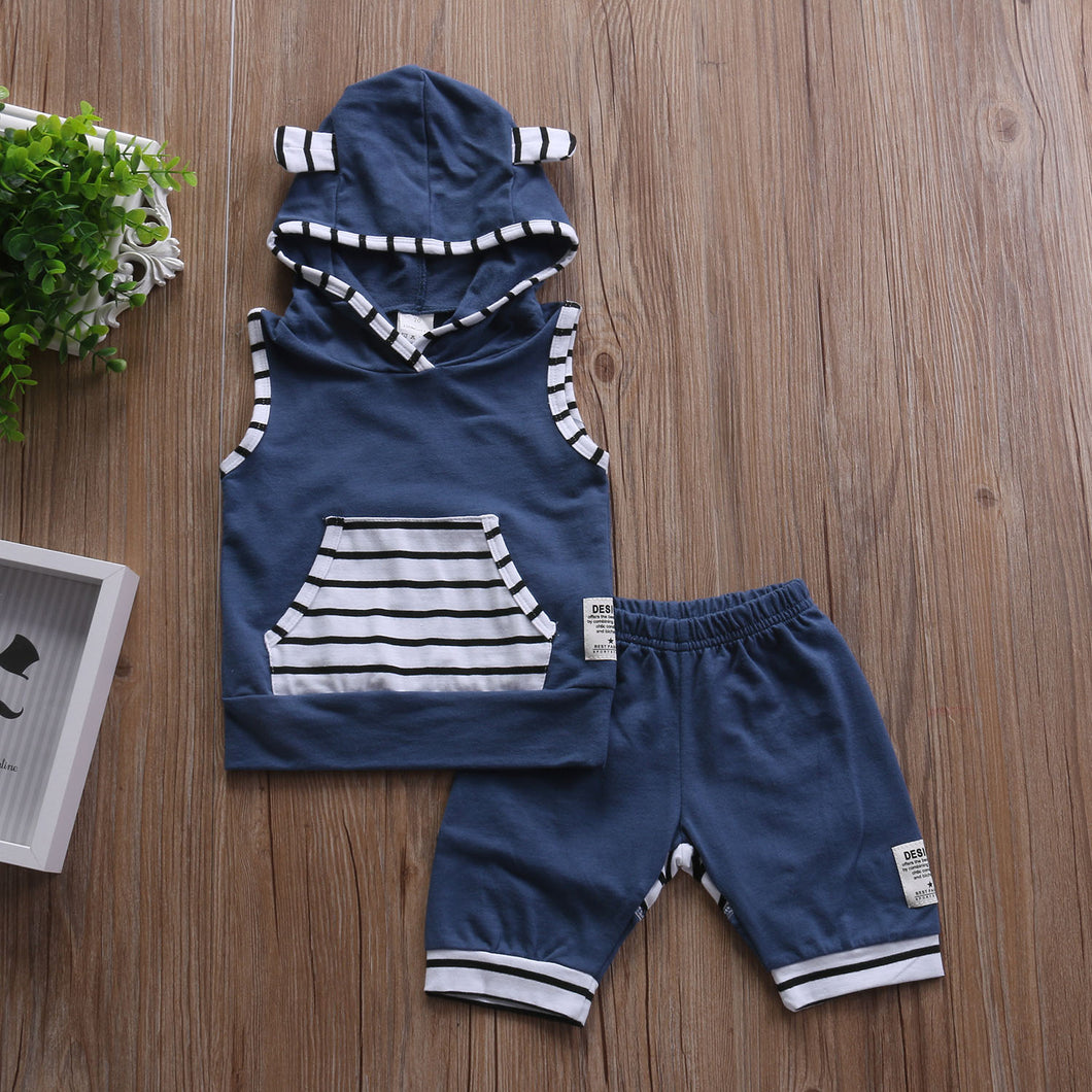 Blue Sleeveless Shorts Set - Rosey Cheeks Children's Boutique