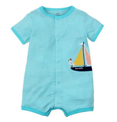 Boys Sailboat Romper - Rosey Cheeks Children's Boutique