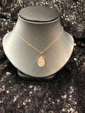 14K Rose Gold Teardrop Pave Necklace - Vassari Luxury Collection