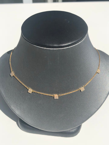 14K  Dangling Square Disc Necklace - Vassari Luxury Collection