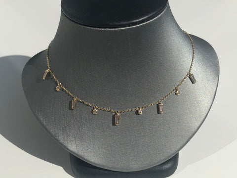 Baguette Disc Necklace - Vassari Luxury Collection