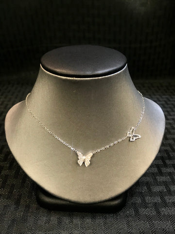 14K Double Butterfly Necklace - Vassari Luxury Collection