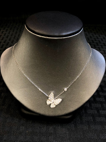 14K Pave Butterfly Necklace - Vassari Luxury Collection