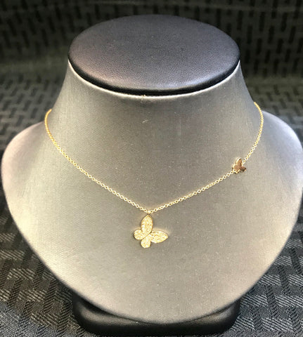14K Simple Butterfly Necklace - Vassari Luxury Collection