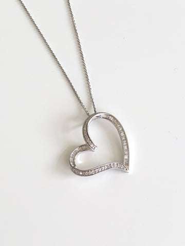 Sideway Baguette Heart Necklace - Vassari Luxury Collection