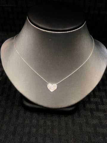 14K Pave Heart Necklace - Vassari Luxury Collection