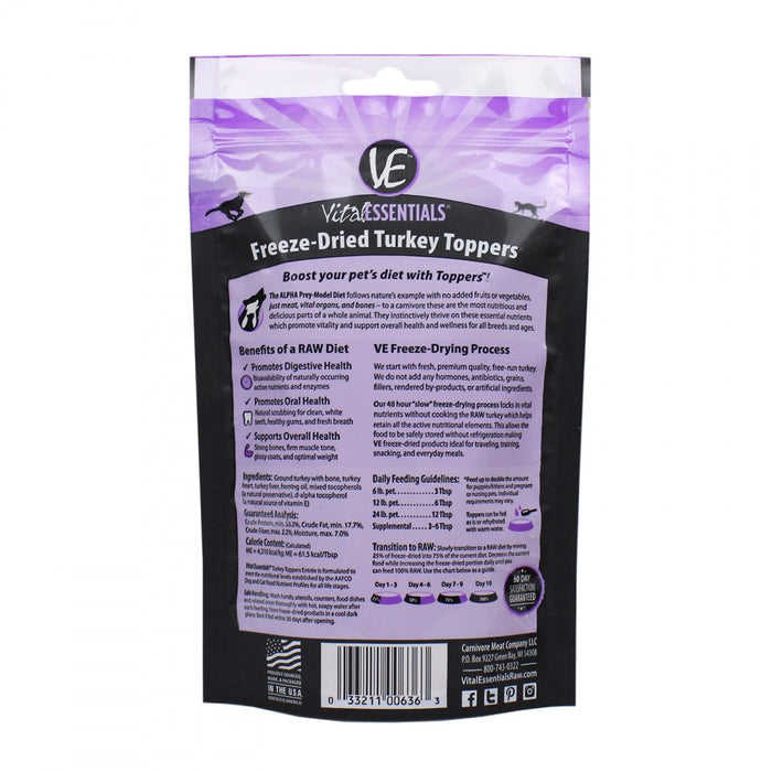Vital Essentials Freeze Dried Turkey Toppers for Cats and Dogs Food
