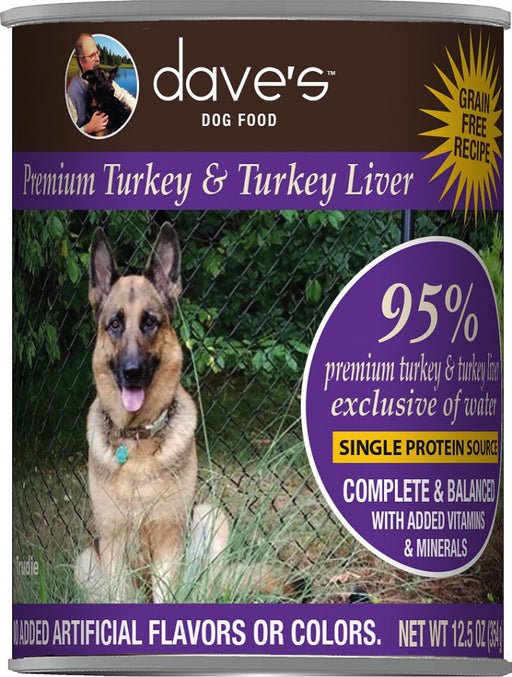 Dave's Premium Turkey & Turkey Liver 95% Meat Canned Dog Food