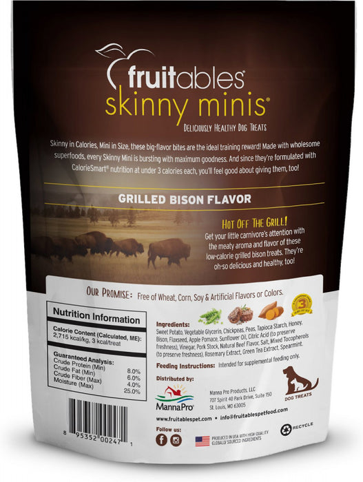 Fruitables Skinny Minis Grilled Bison Flavor Soft & Chewy Dog Treats