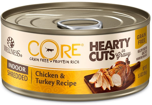 Wellness CORE Natural Grain Free Hearty Cuts Indoor Chicken and Turkey Canned Cat Food