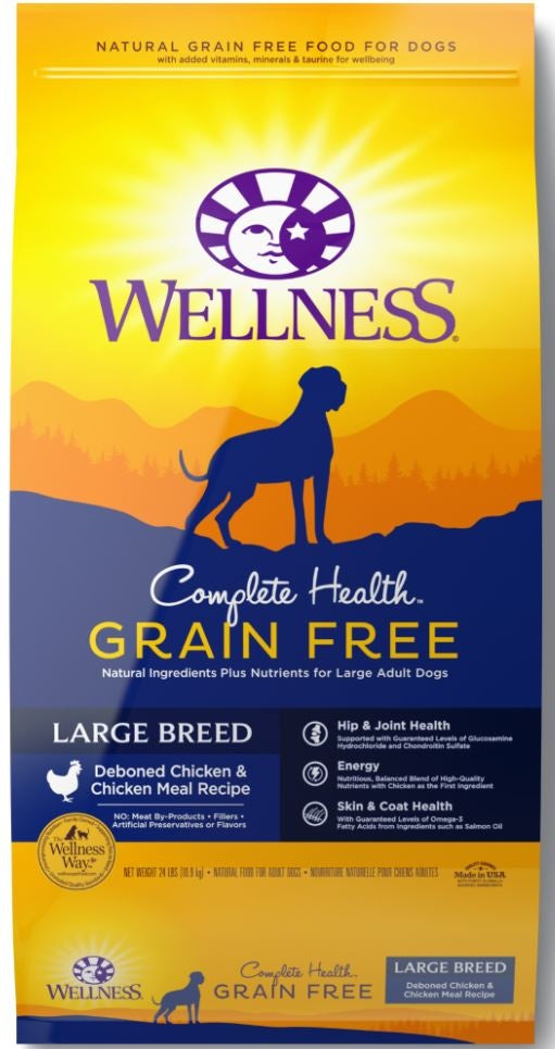 Wellness Complete Health Grain Free Large Breed Deboned Chicken and Chicken Meal Recipe Dry Dog Food