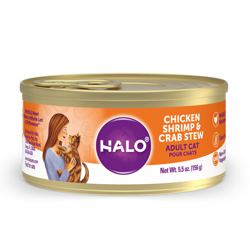 Halo Holistic Grain Free Adult Chicken, Shrimp & Crab Stew Canned Cat Food