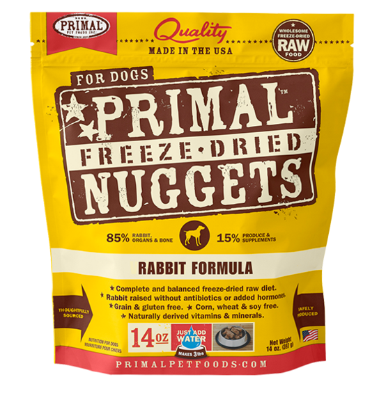 Primal Freeze Dried Nuggets Grain Free Rabbit Formula Dog Food