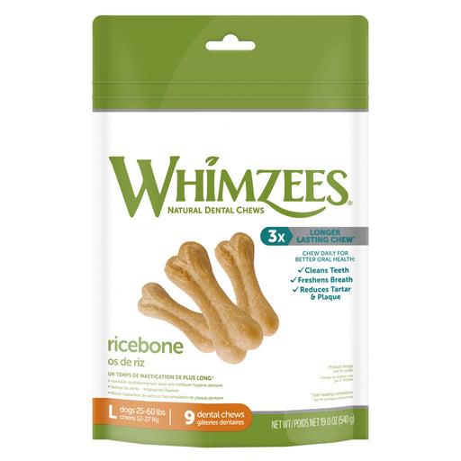 Whimzees Large Rice Bone Dental Chew Dog Treats