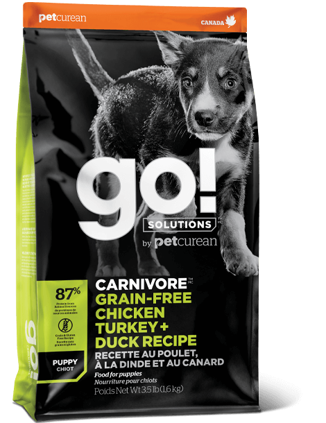 Petcurean GO! Solutions Carnivore Grain Free Chicken, Turkey, & Duck Recipe Puppy Dry Dog Food