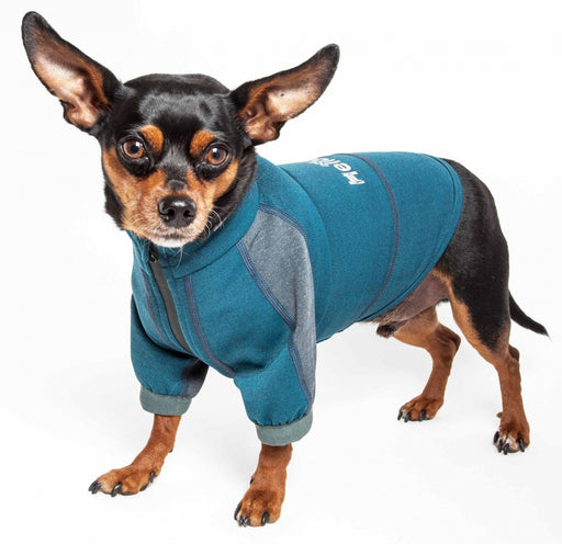 Pet Life Dog Helios Eboneflow Ocean Blue Flexible Performance Breathable Yoga Dog T-Shirt