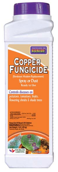 Bonide Copper Fungicide Dust, 1lb - For Powdery Mildew, Peach Leaf Curl and Blight