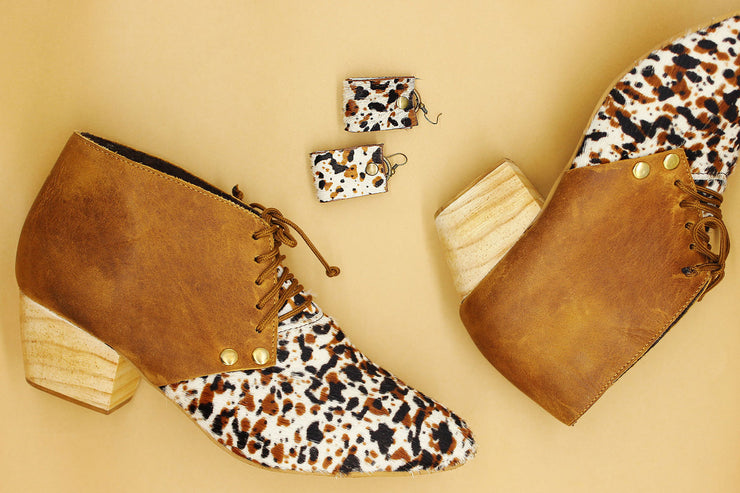 Dineo Bootie In Toffee / Splash Cowhide