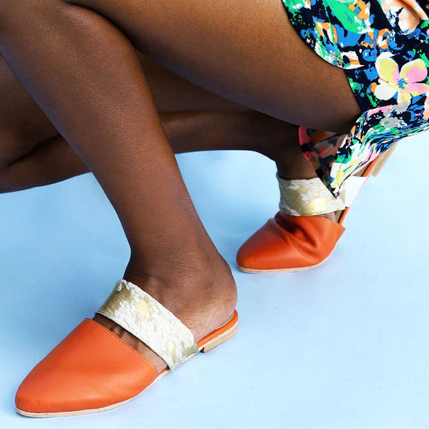 Lea Slider In Orange / Gold Splash Bovine
