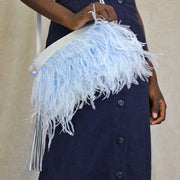 The Day Sling In Blue Ostrich Feathers