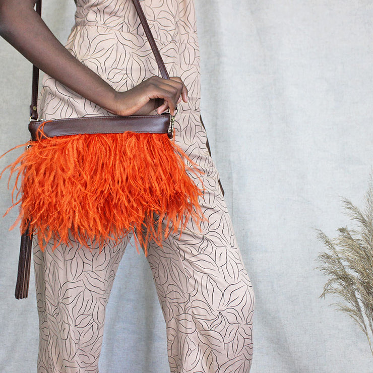 The Day Sling In Orange Ostrich Feathers