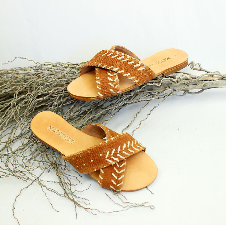 Uma Sandal In Red Mud Cloth