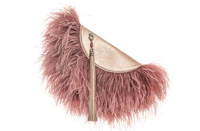 Le Petit Ostrich Feather Clutch Bag In Rose
